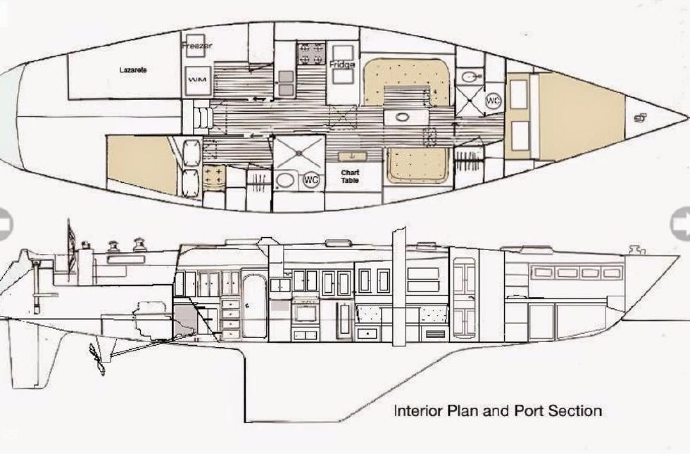Kaufman 49 Interior Plan and Port Section
