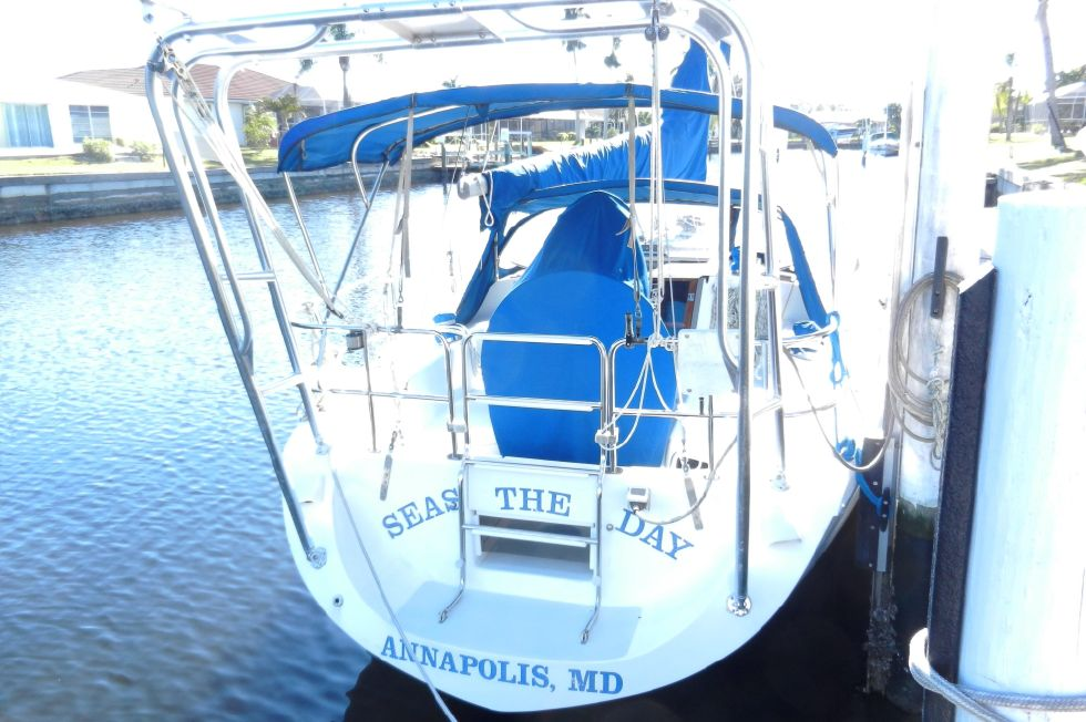 Stern view and Custom Arch/Dinghy Davits