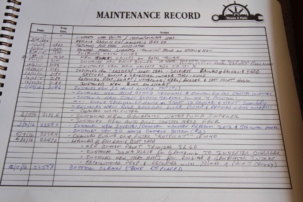 1996 Hunter 42 - Hunter 42 Maintenance Log
