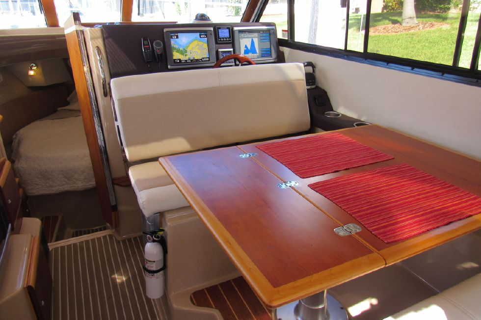 Starboard Dinette Helm Seats Converted and Facing Aft