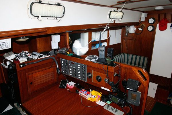 1977 Tartan Centerboard sloop - Nav Station w/new Blue Systems AC/DC panel