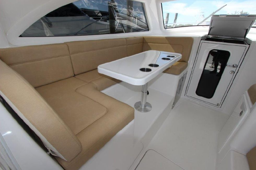 2019 Viking 37 Billfish - Deck 8 - Lower Helm Seating With Table