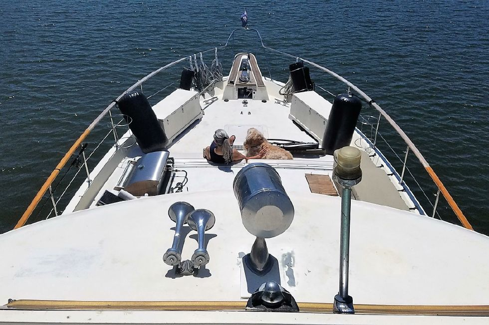 1977 Hatteras 53 Classic - Fwd view from bridge