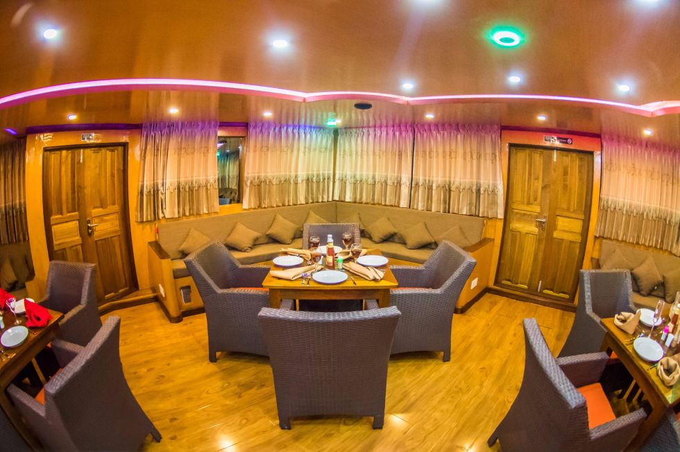 2016 Custom Motor Yacht Explorer 110 - Custom 110 Motor Yacht Dining and Lounge Area