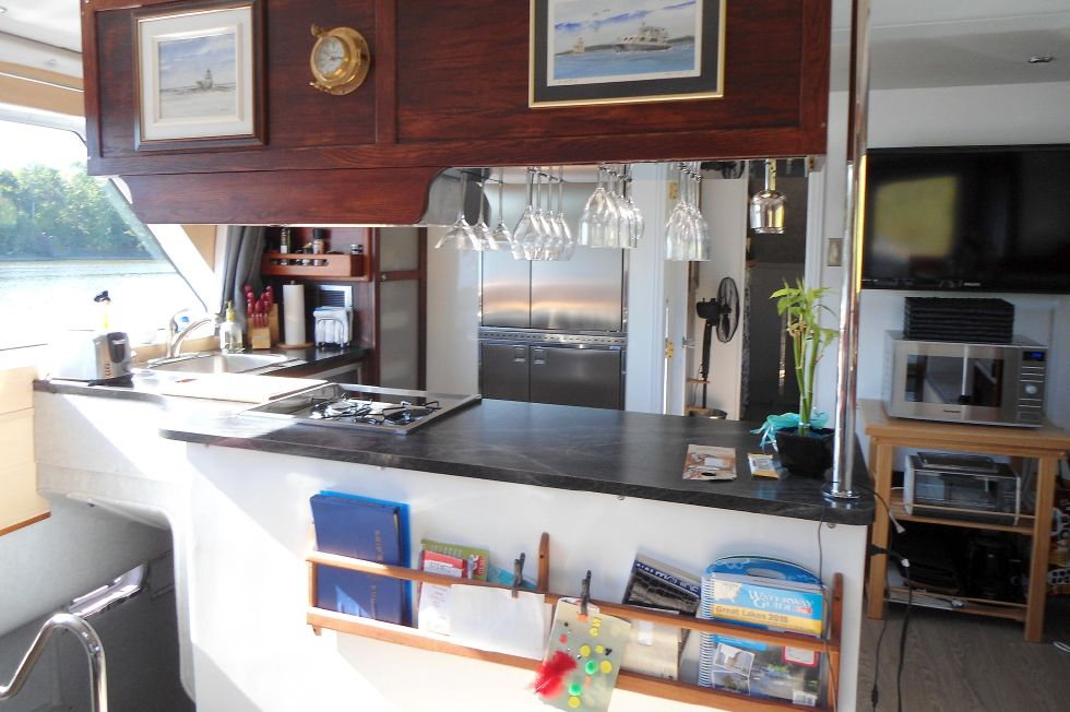 Flybridge Power Catamaran Spacious Galley