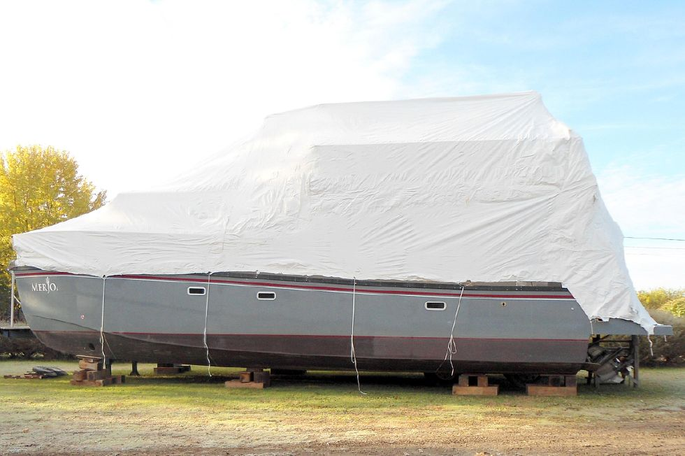 Flybridge Power Catamaran Winter Storage