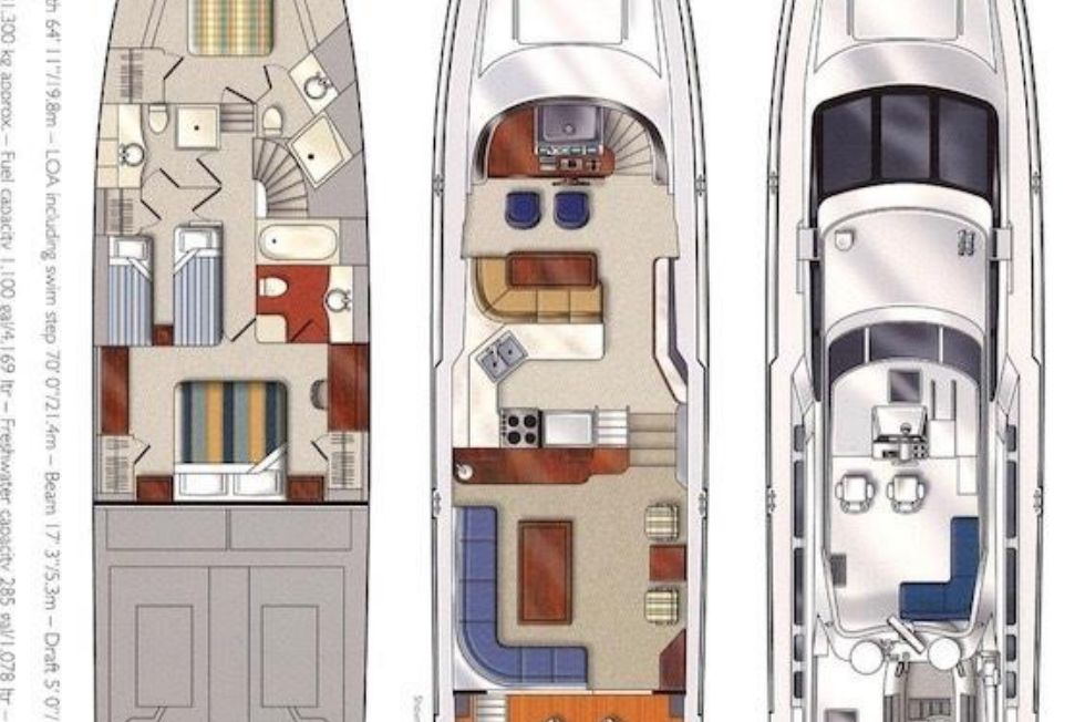 1998 Pacific Mariner Motor Yacht - Vessel Layout