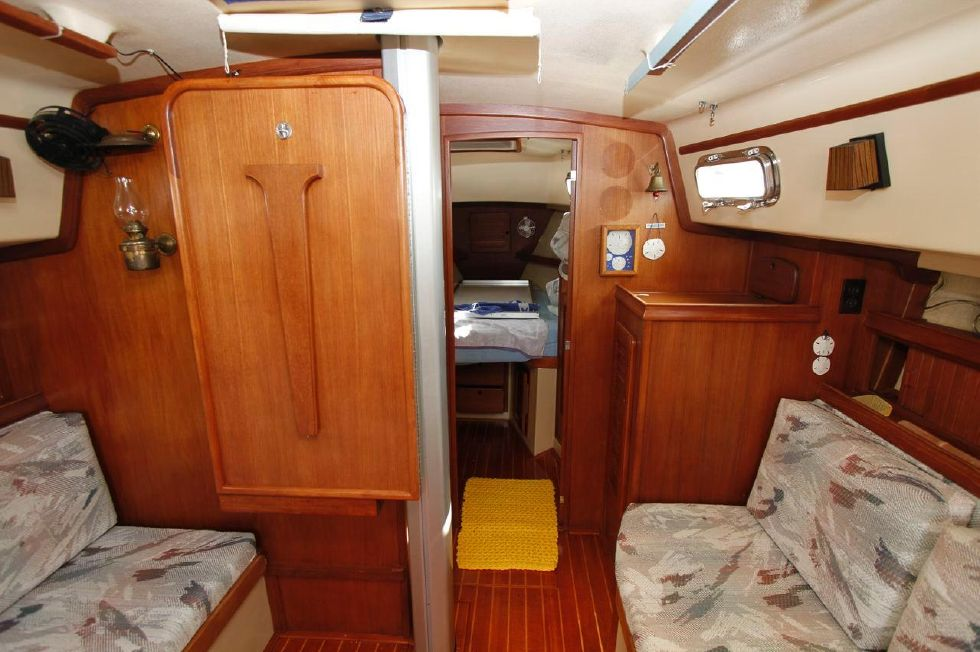 Island Packet 35 fold down dinette off bulkhead