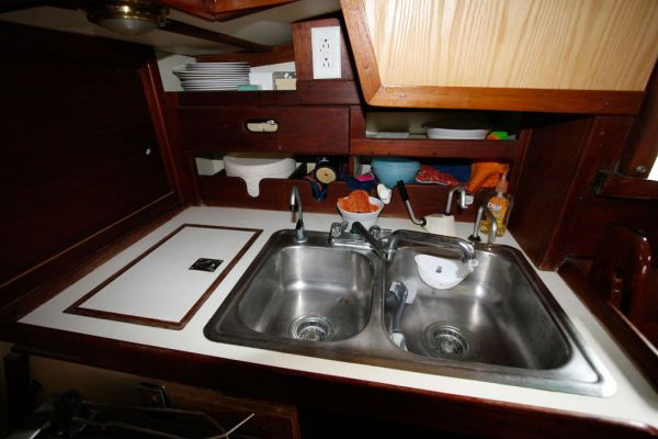 Double SS Sink w/pressure water and ample storage