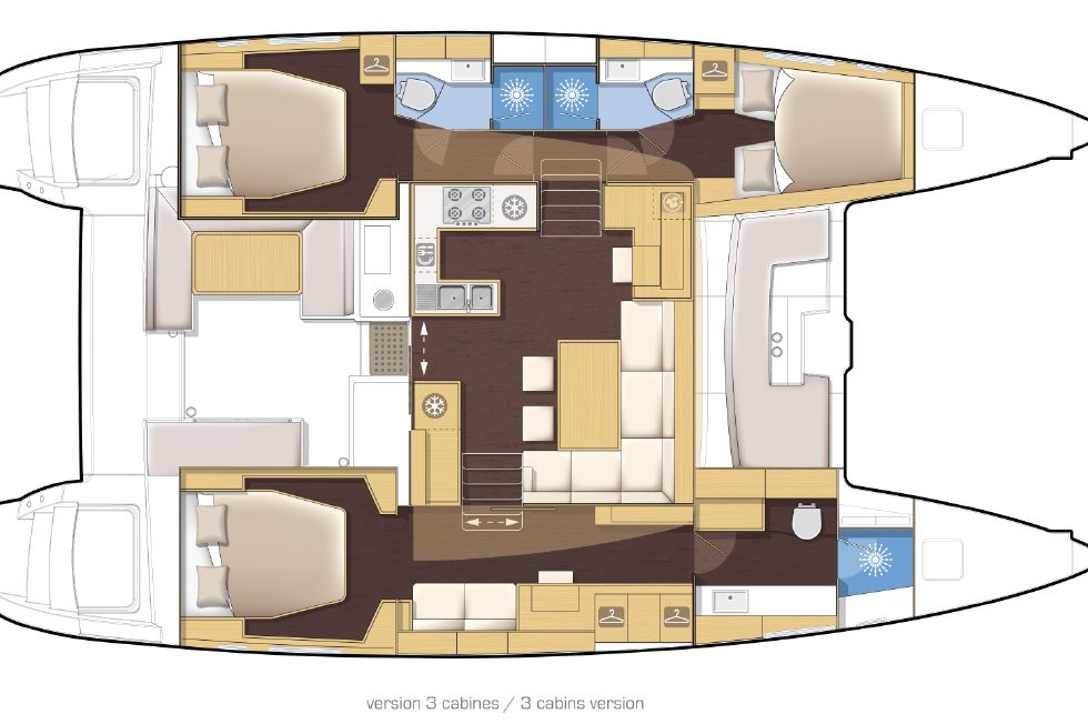 2017 Lagoon 450 F - Manufacturer Provided Image: Lagoon 450 3 Cabin Layout Plan