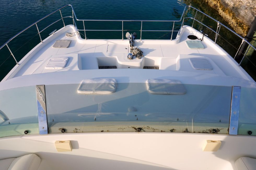 Lagoon 43 Power Cat Bow From Flybridge