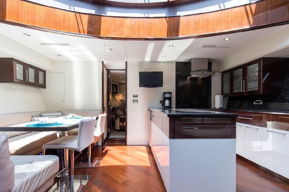 2010 Lazzara 78 LSX - Galley view from Forward