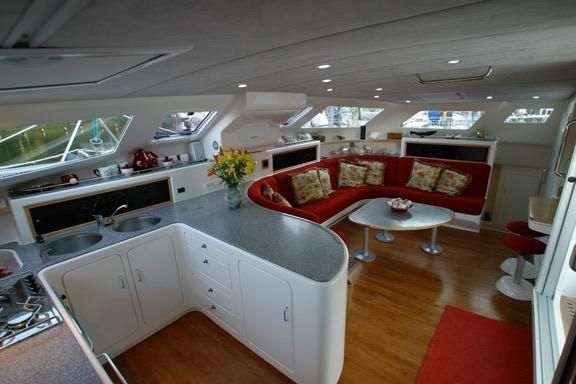 2005 Voyage Yachts 500 Owner's Version - galley looking to salon