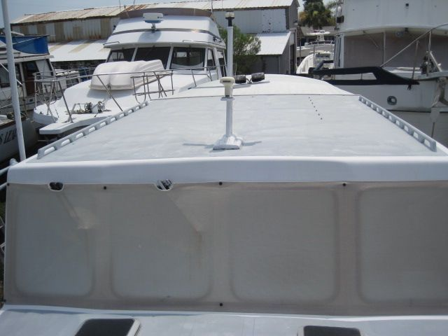 Pilothouse windows and top looking aft