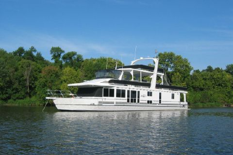2003 Majestic 90X18 Tri Deck River Cruiser - Port Bow