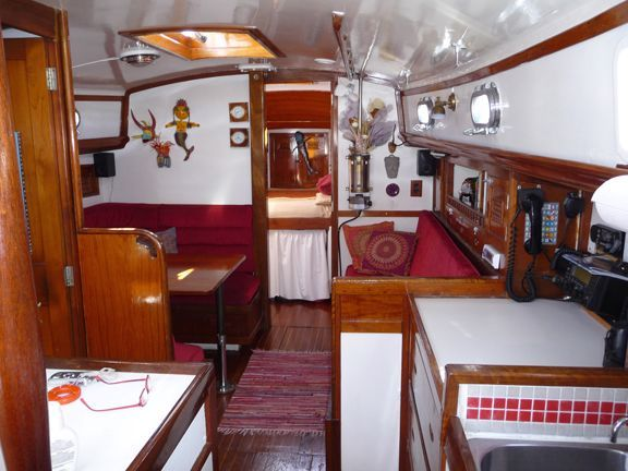 1970 Cheoy Lee Clipper 42 - Main cabin salon and galley