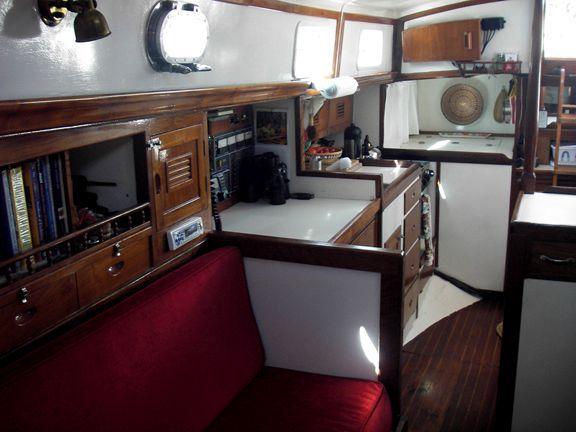 1970 Cheoy Lee Clipper 42 - Looking aft to galley and companionway