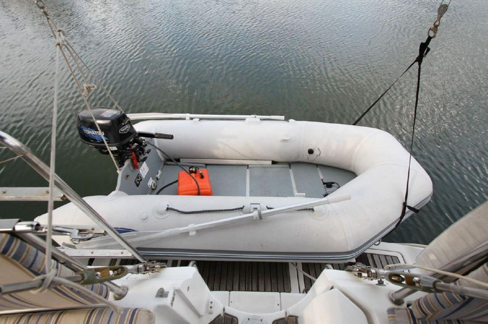 Dinghy on Electric Davits