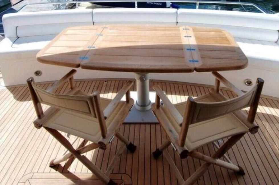 2011 Sunseeker Manhattan 60 - Aft Deck -  Teak Table & Chairs