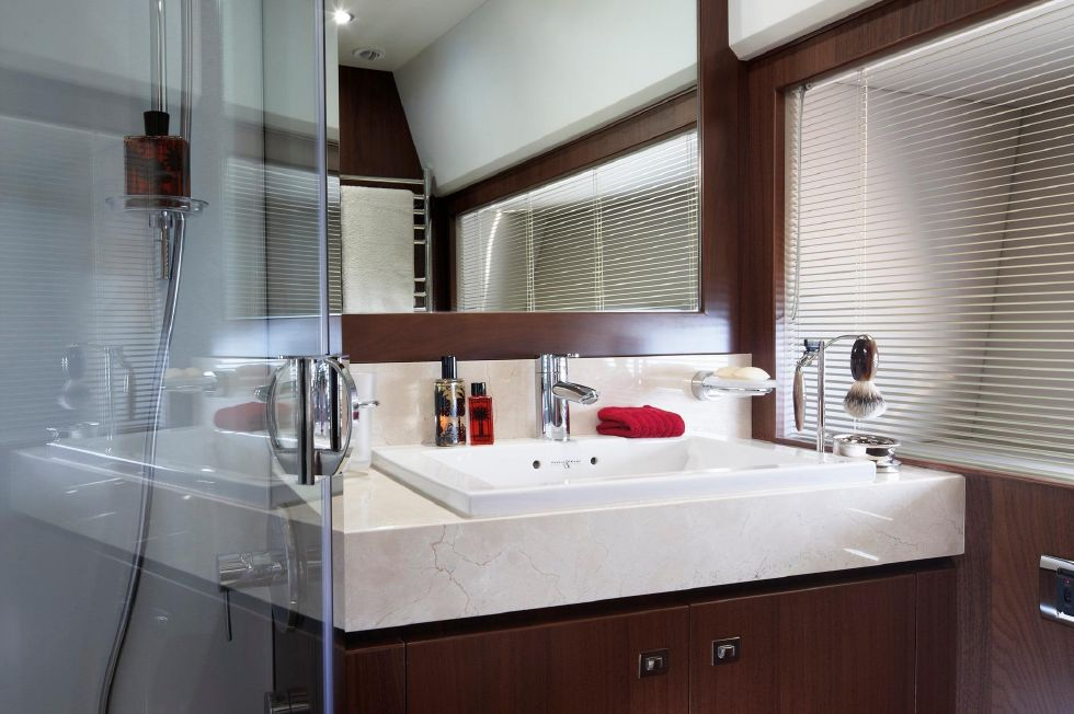 2013 Princess V78 - Manufacturer Provided Image: Princess V78 Forward Cabin Bathroom