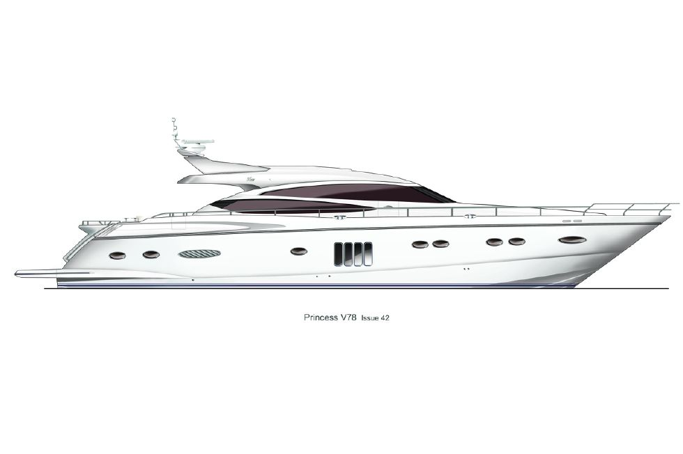 2013 Princess V78 - Manufacturer Provided Image: Princess V78 Profile White Hull