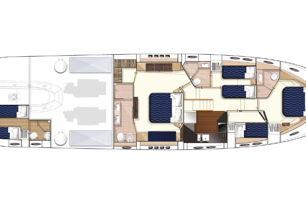 2013 Princess V78 - Manufacturer Provided Image: Princess V78 Lower Accommodation Layout