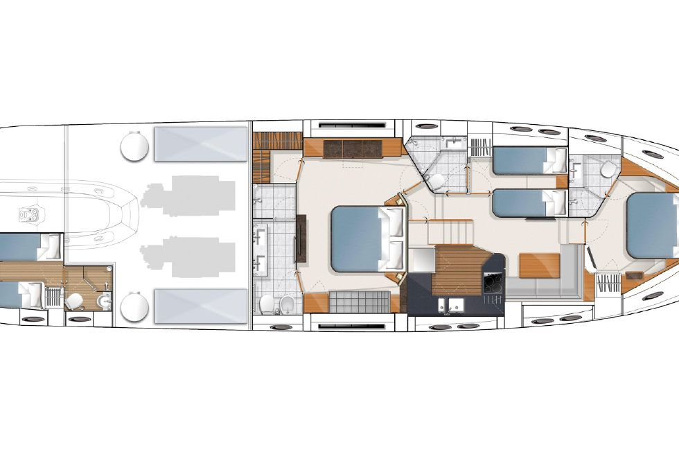 2013 Princess V78 - Manufacturer Provided Image: Princess V78 Optional Lower Accommodation Layout