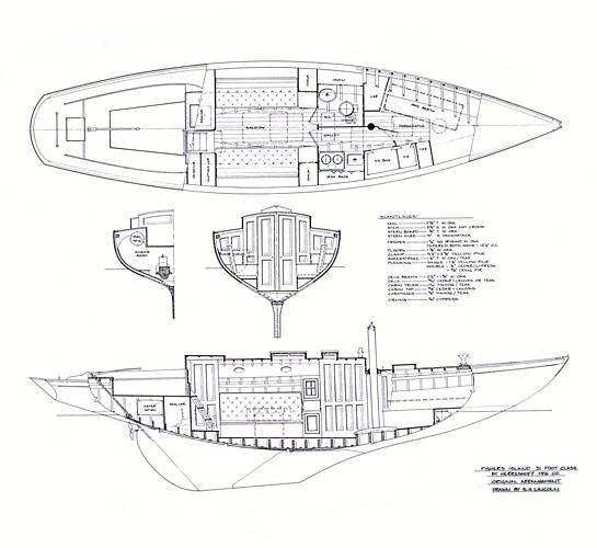 1927 Herreshoff Fishers Island 31 Fractional Sloop - Profile & Layout Drawings