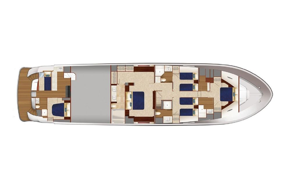 2018 Hatteras M90 Panacera - Lower Cabin Floor-Plan