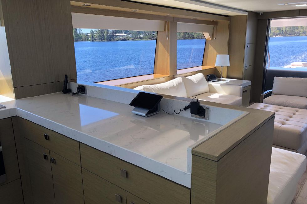 2017 Hatteras M75 Panacera - Salon view from galley