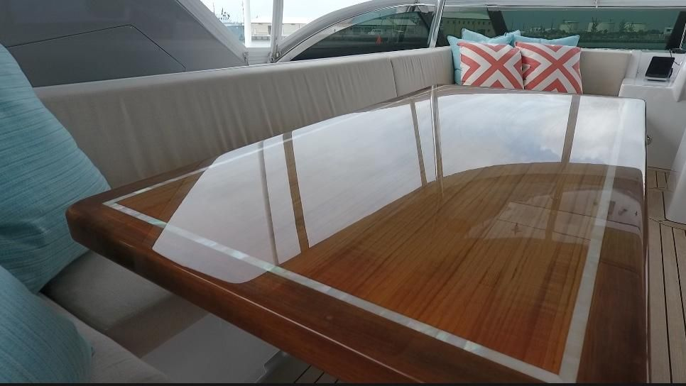 2017 Hatteras M75 Panacera - Tables by Release Marine w/ mother of pearl inlay