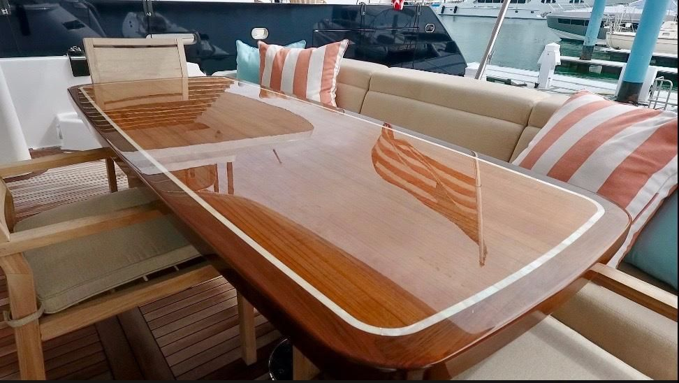 2017 Hatteras M75 Panacera - Aft table by Release Marine