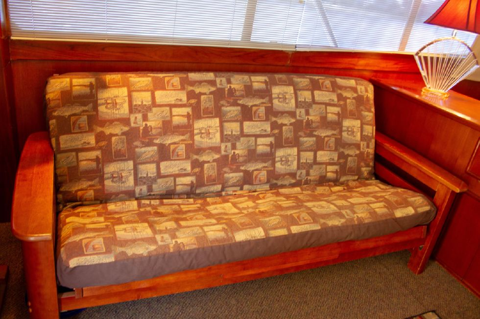 Salon Futon Recovered in Period Style Softgoods