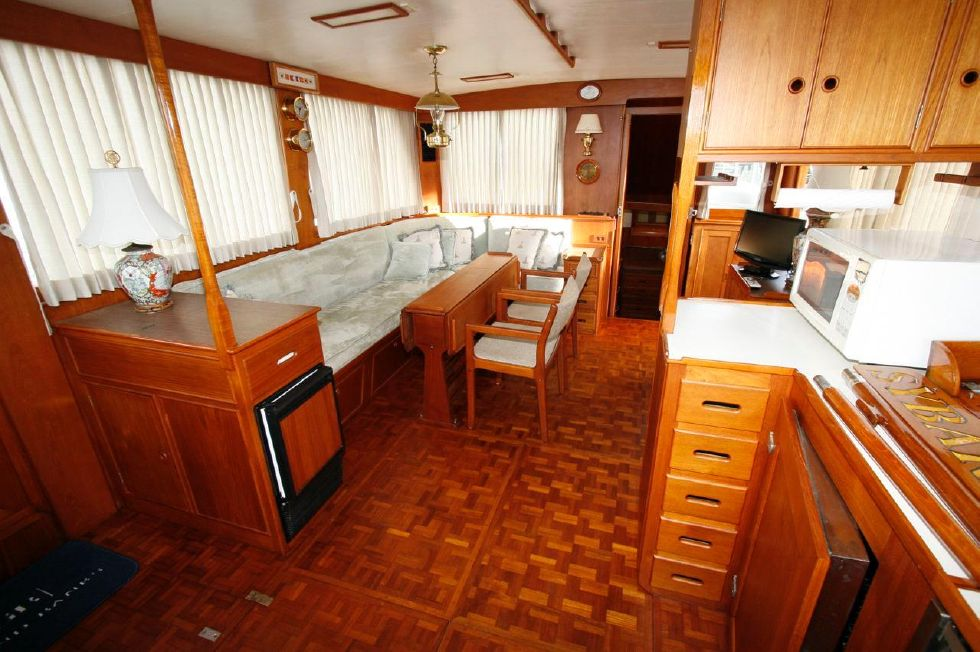 1980 Grand Banks 49 Classic - View from Galley to Salon