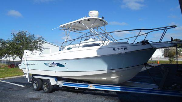 Aquasport 250 Explorer Starboard Side Forward On Trailer