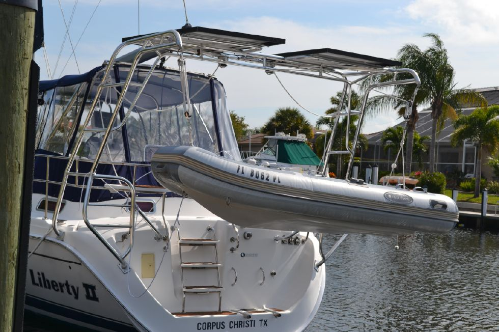 Transom Arch with Solar Panels and Dinghy Hoist