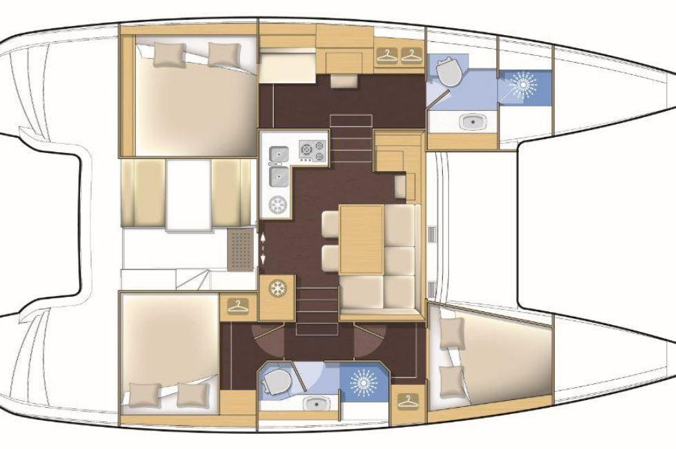 2014 Lagoon 39 - Manufacturer Provided Image: Lagoon 39 3 Cabin Premium Layout Plan