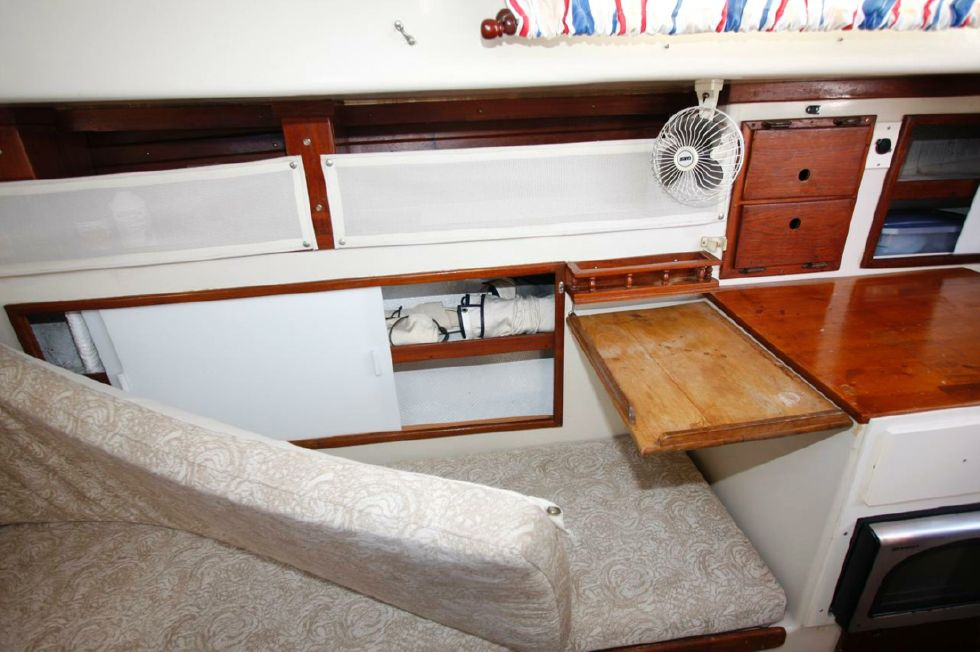 Storage behind Settee