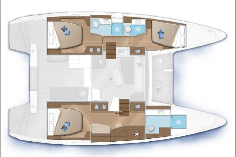 Manufacturer Provided Image: Lagoon 42 3 Cabin Layout Plan