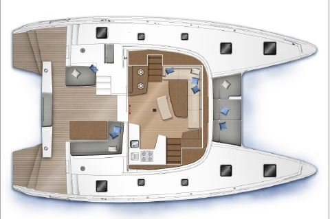 Manufacturer Provided Image: Lagoon 42 Upper Deck Layout Plan