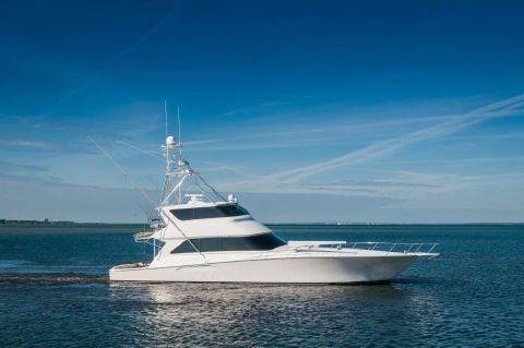 2005 Viking 74 Enclosed Bridge - Starboard Profile