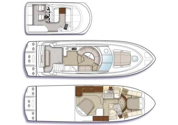 2009 Sea Ray 47 Sedan Bridge - Manufacturer Provided Image: 2-cabin layout