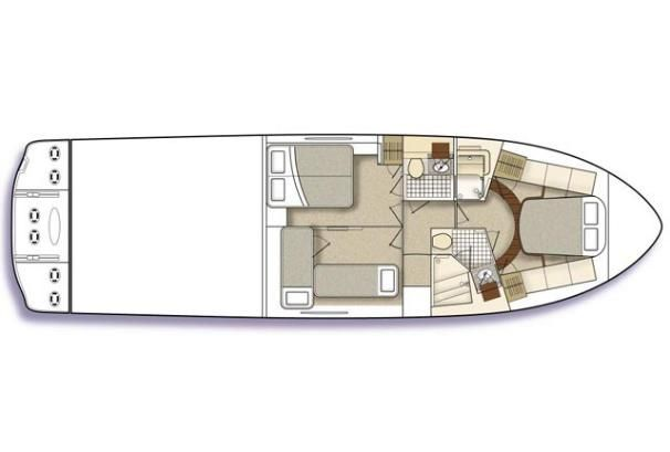 2009 Sea Ray 47 Sedan Bridge - Manufacturer Provided Image: 3-cabin layout