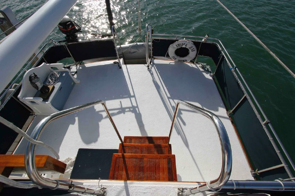 Grand Banks 42 Motoryacht Flybridge View of Aft Deck