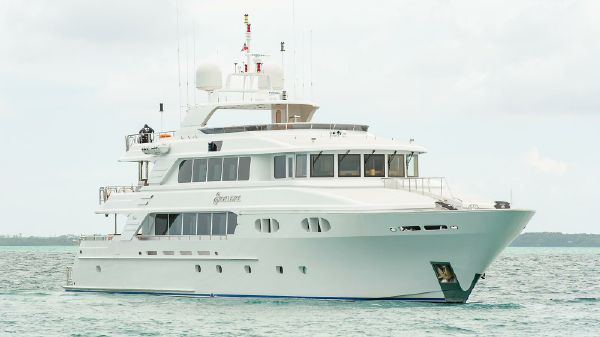 Richmond Yachts Tri-Deck Motor Yacht AT ANCHOR STARBOARD
