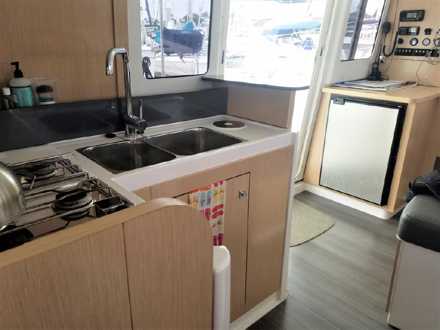 Mahe 36 Evolution Catamaran Galley