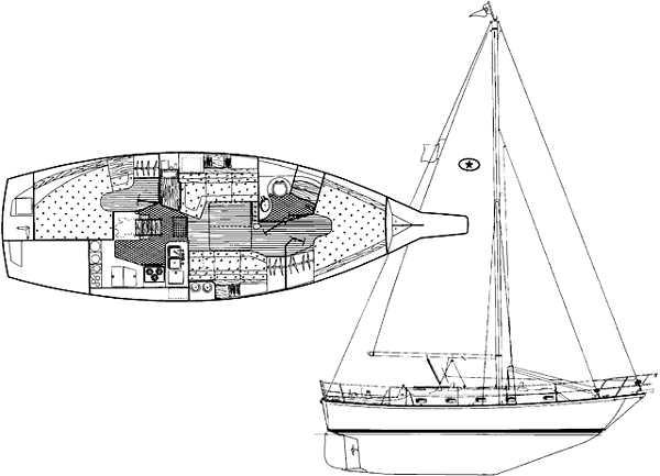 37' Island Packet 37 Cutter+Port side deck