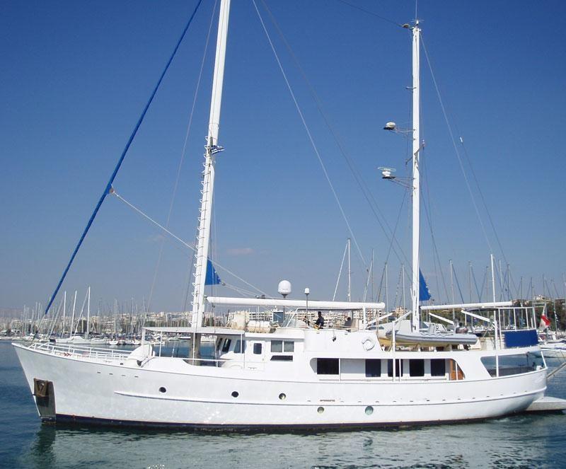 1986 sutphen steel motor sailer sail boat for sale www for Large motor yachts for sale