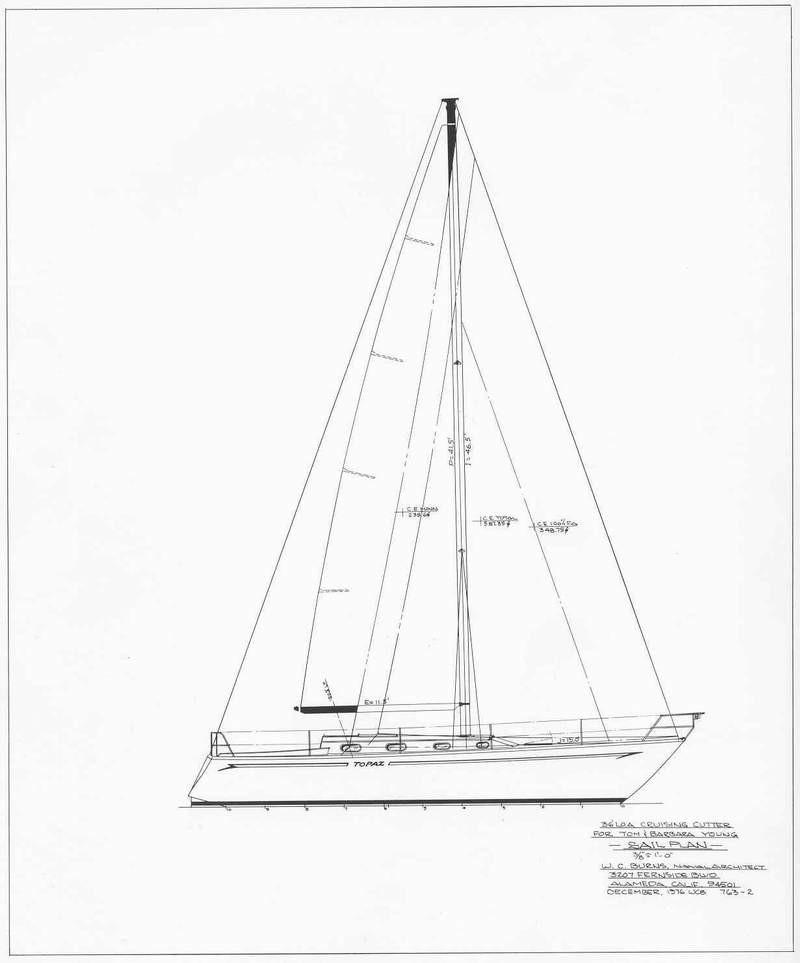 1977 Custom Chuck Burns 36 Sail Boat For Sale