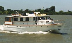 1966 Stephens Trumpy-style houseboat with potential live aboard slip
